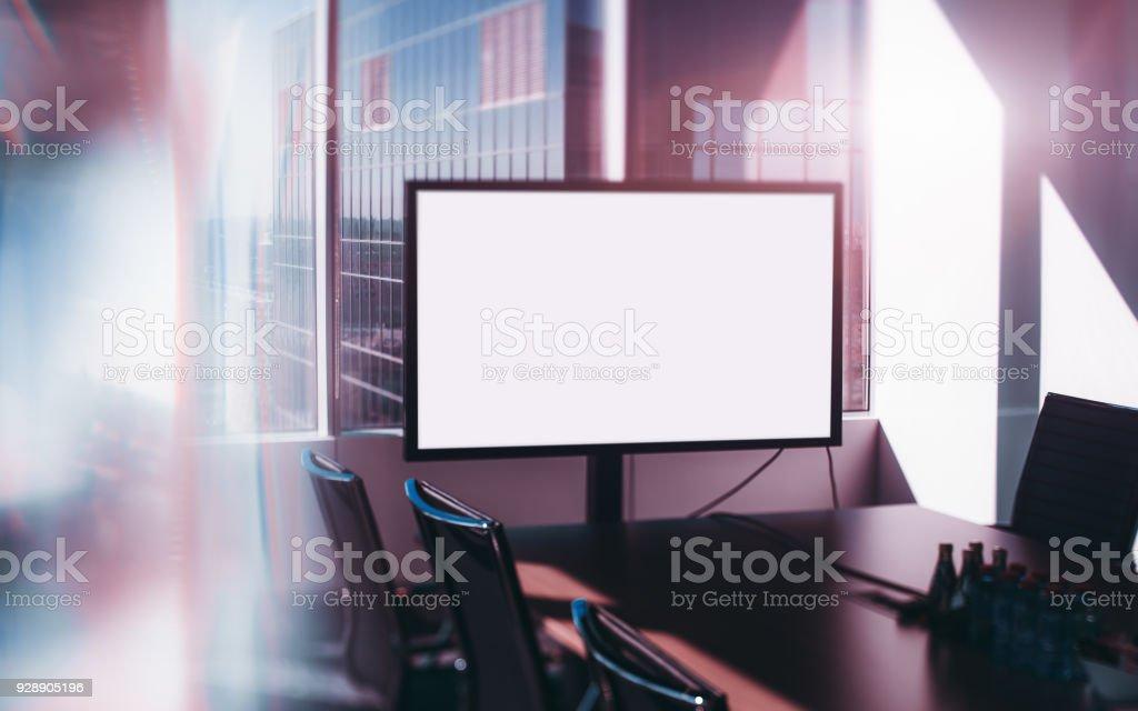 Mock-up des tv Bildschirm wenn Büroraum, Tiltshift-Ansicht – Foto