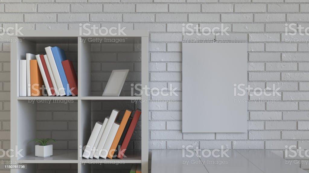 Mockup of wall calendar in the interior. Spiral calendar on brick...