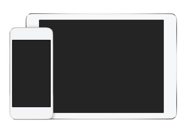 Maquette d'ordinateur tablette blanche en orientation paysage et smartphone en orientation portrait - Photo