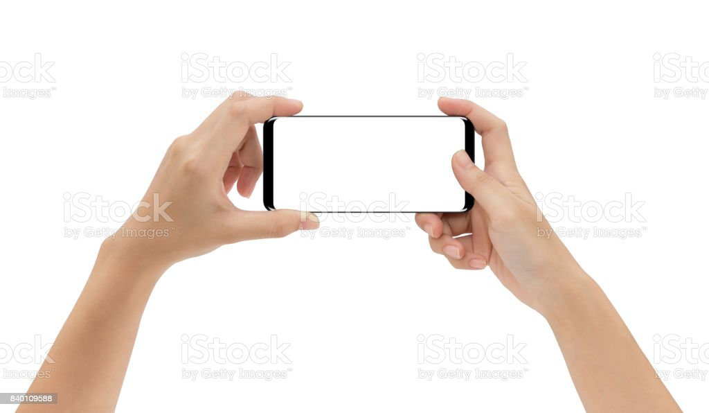 mock-up phone in hand holding isolated on white background clipping path inside stock photo