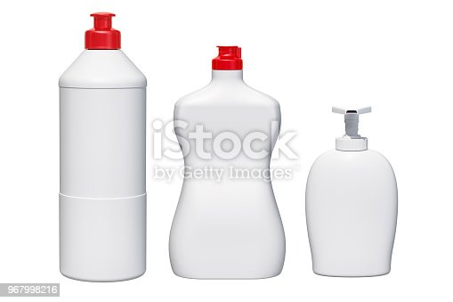 istock Mock-up plastic bottles. Detergent, cleaning products. 3D rendering 967998216