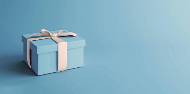 makieta plakatu, niebieskie pudełko z białym łukiem na jasnoniebieskim tle, renderowanie 3d, ilustracja 3d - gift zdjęcia i obrazy z banku zdjęć