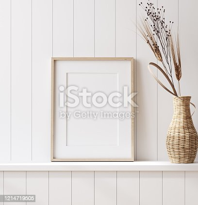 Mockup poster frame close up in coastal style home interior, 3d render