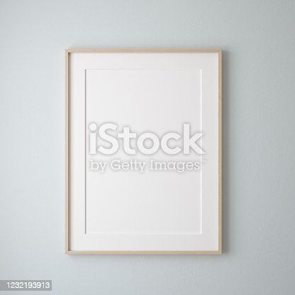 Mockup poster frame close up on wall painted pastel blue color, 3d render