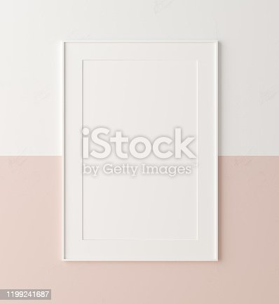 Mockup poster frame close up on wall painted white and pastel pink color, 3d render