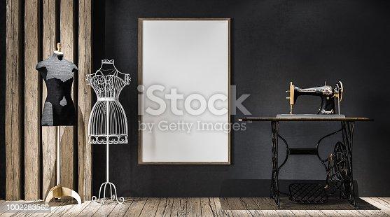 Mock-up poster frame in atelier, 3d render