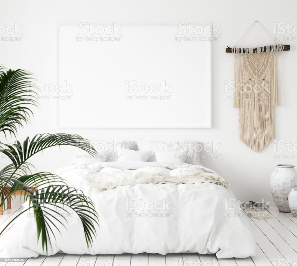 Mock-up poster frame in bedroom, Scandinavian style royalty-free stock photo