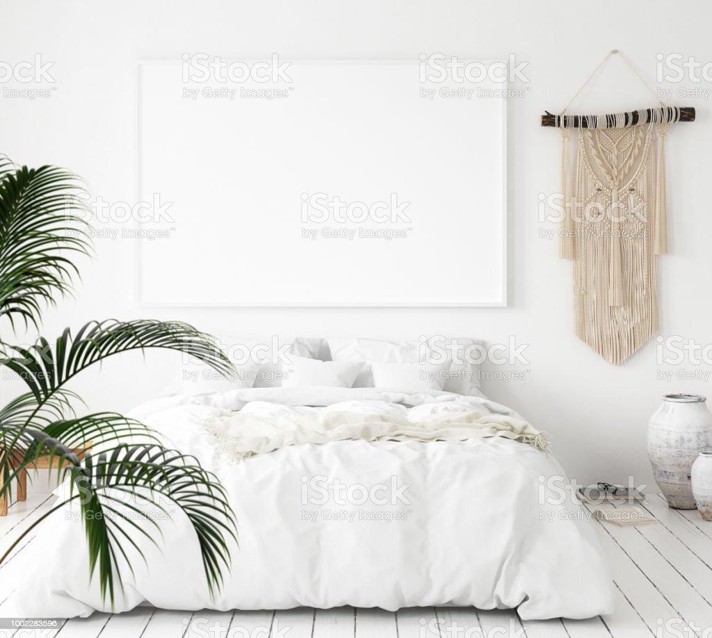 Mock-up poster frame in bedroom, Scandinavian style стоковое фото