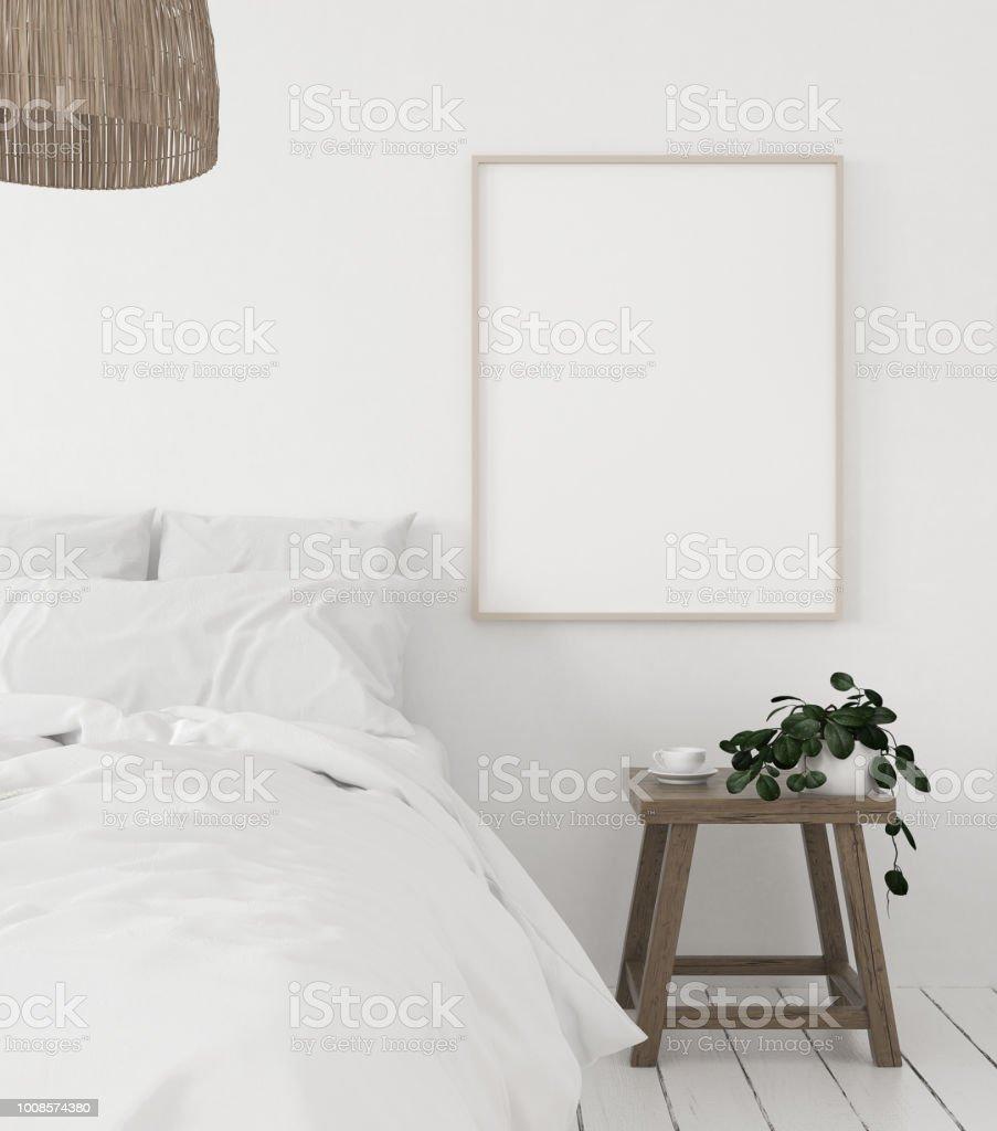 mock up verlichte wissellijst in slaapkamer scandinavische stijl royalty free stockfoto