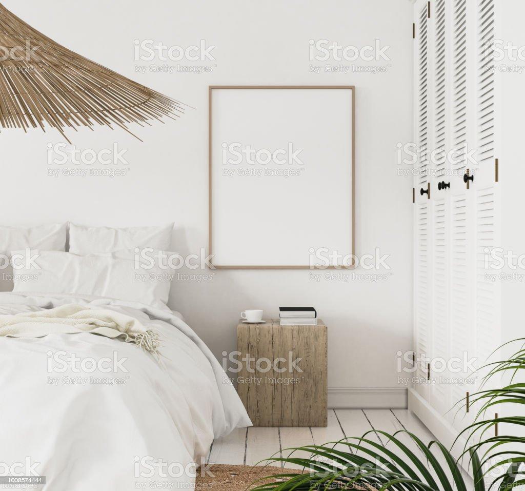 Image Postérisée Maquette Dans La Chambre à Coucher De Style Scandinave  Photo Libre De Droits