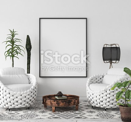1027116110 istock photo Mock-up poster frame in living room background, Scandi-Boho style 1027116104