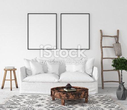 1027116110 istock photo Mock-up poster frame in living room background, Scandi-Boho style 1027116108