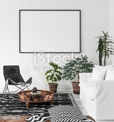 istock Mock-up poster frame in living room background, Scandi-Boho style 1027116114