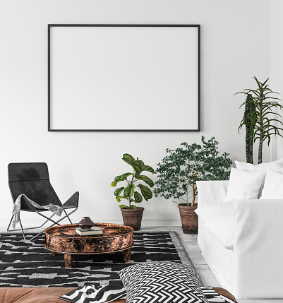 Mockup Poster Frame In Living Room Background Scandiboho Style Stock Photo - Download Image Now ...