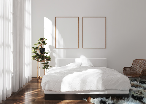 Mock-up poster frame in modern bedroom, Scandinavian style, 3d render