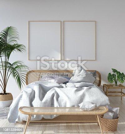 1027116110 istock photo Mock-up poster frame in Scandinavian bedroom, Bohemian style 1081339464