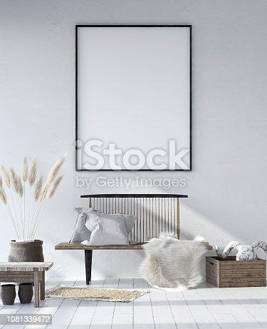 1027116110istockphoto Mock-up poster frame in shabby Scandinavian interior background 1081339472