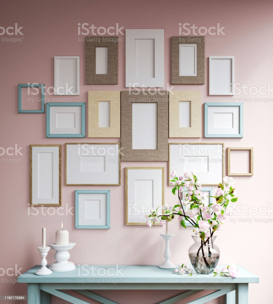 Mockup poster frames Decorative frames Apartment Stock Photo