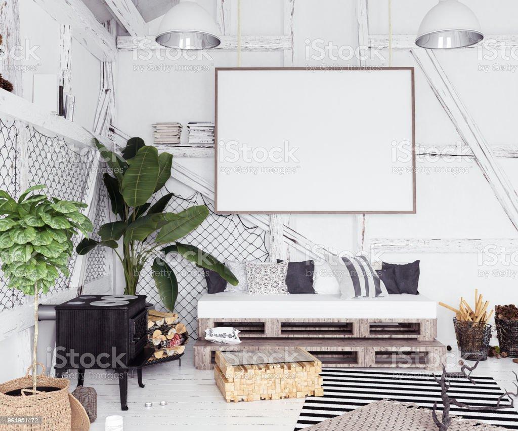 Arredamento Boho Style : Mockup poster in attic interior scandinavian boho style