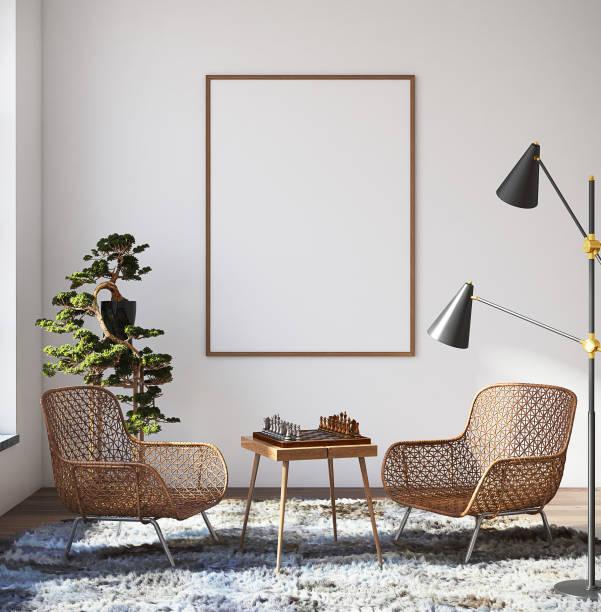 mockup poster hipster oturma odası iç - i̇skandinav kültürü stok fotoğraflar ve resimler