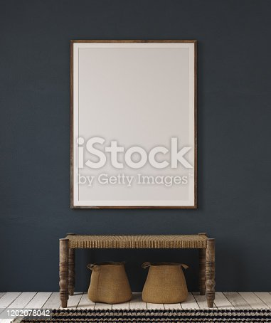 Mockup poster in home interior, ethnic style hallway, 3d render