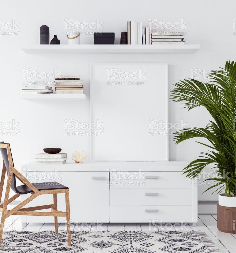 Mockupposter In Wohnzimmer Skandinavischen Stil Stock Fotografie Und