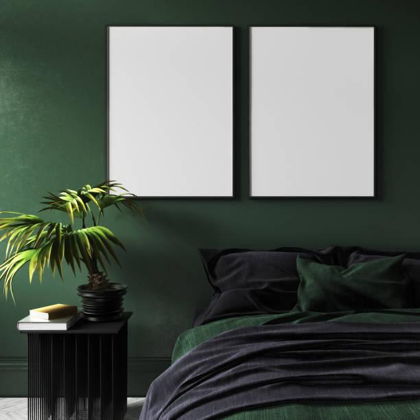 mock-up-poster in modernen dunklen grünen schlafzimmer innenraum mit topfpflanze auf tisch - bilder poster stock-fotos und bilder