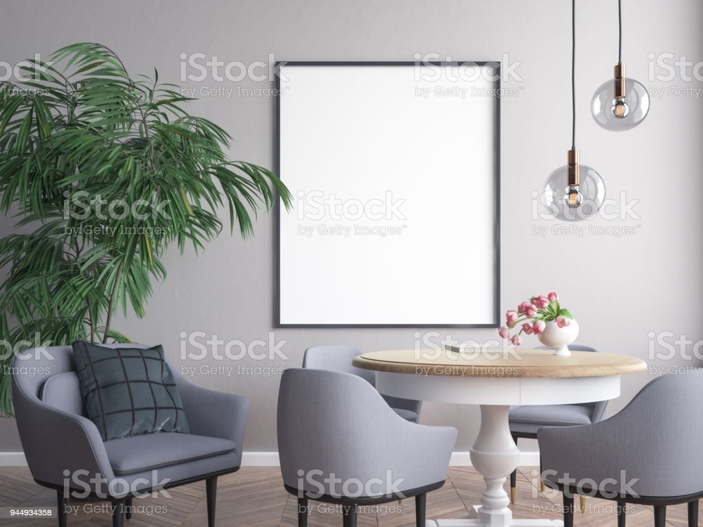 Mockup Poster in the interior 3D illustration stock photo