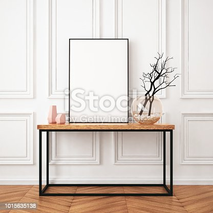 923497490istockphoto Mockup poster in the interior in classic style 1015635138