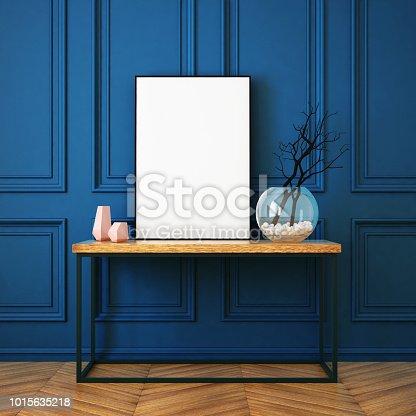 923497490istockphoto Mockup poster in the interior in classic style 1015635218