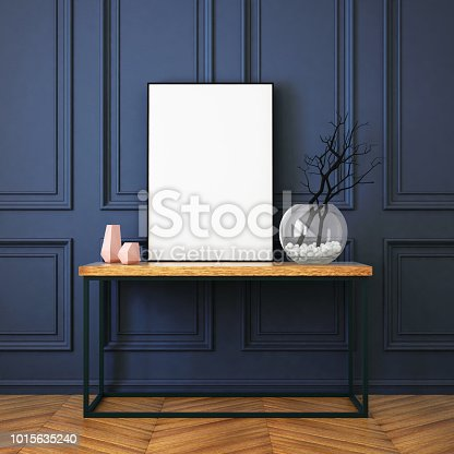 923497490istockphoto Mockup poster in the interior in classic style 1015635240