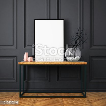 923497490istockphoto Mockup poster in the interior in classic style 1015635246