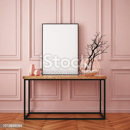 923497490istockphoto Mockup poster in the interior in classic style 1015635254