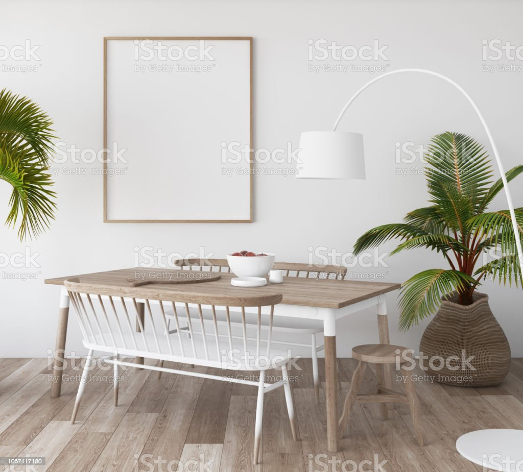 Mock-up poster in tropical living room background, Scandi-boho style