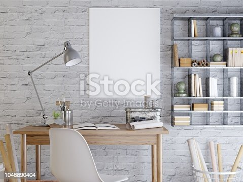 mockup poster on a white brick wall. The poster above the desk and shelves in a hipster style. 3D render.
