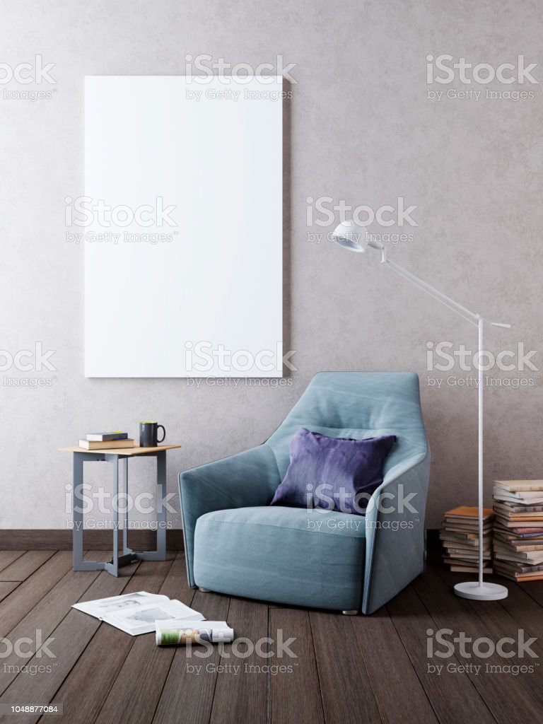 Mockup poster on the wall in the interior with a chair in...