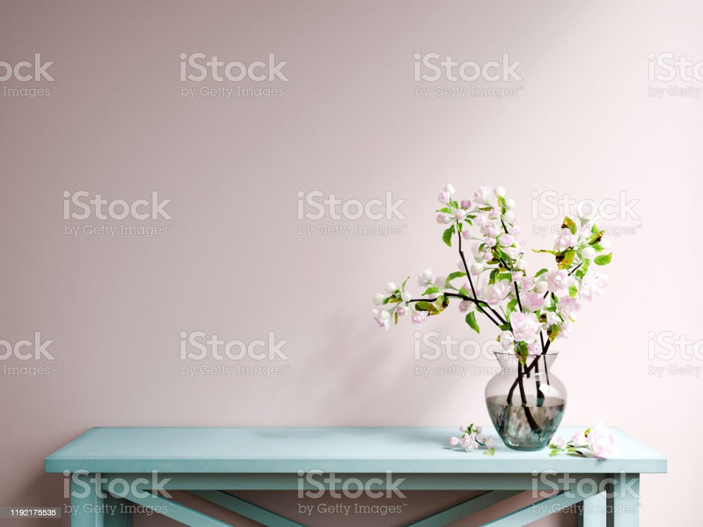 Mockup poster wall Pink wall with decorative bench Apartment Stock Photo