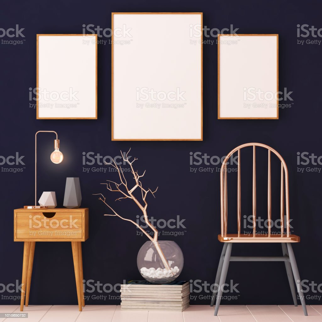 mockup posters in the frame on a light background in the interior. 3d