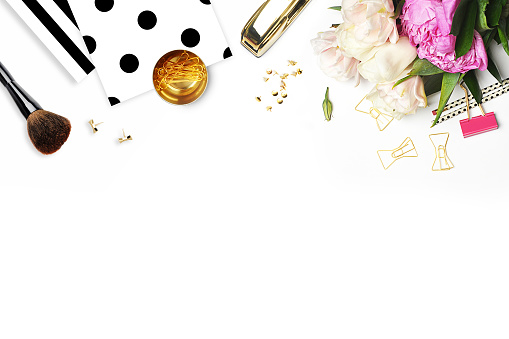 Mockup product view table gold accessories. stationery supplies. glamour style. Gold stapler. black polka dots . Header website or Hero website. Flat lay
