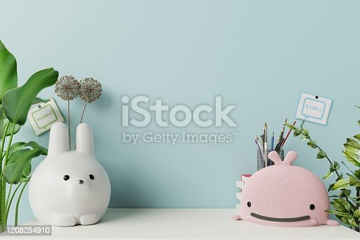 1208254898 istock photo Mockup wall in the children's room on wall blue background. 1208254910
