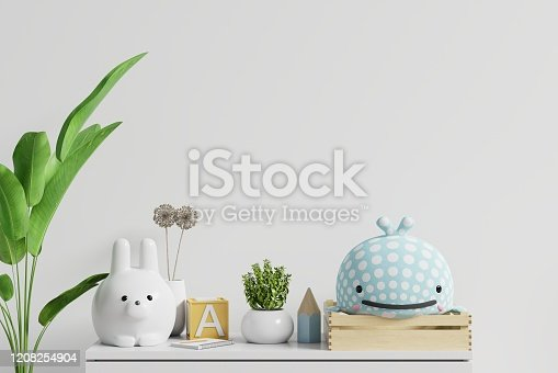1208254898 istock photo Mockup wall in the children's room on wall white background. 1208254904