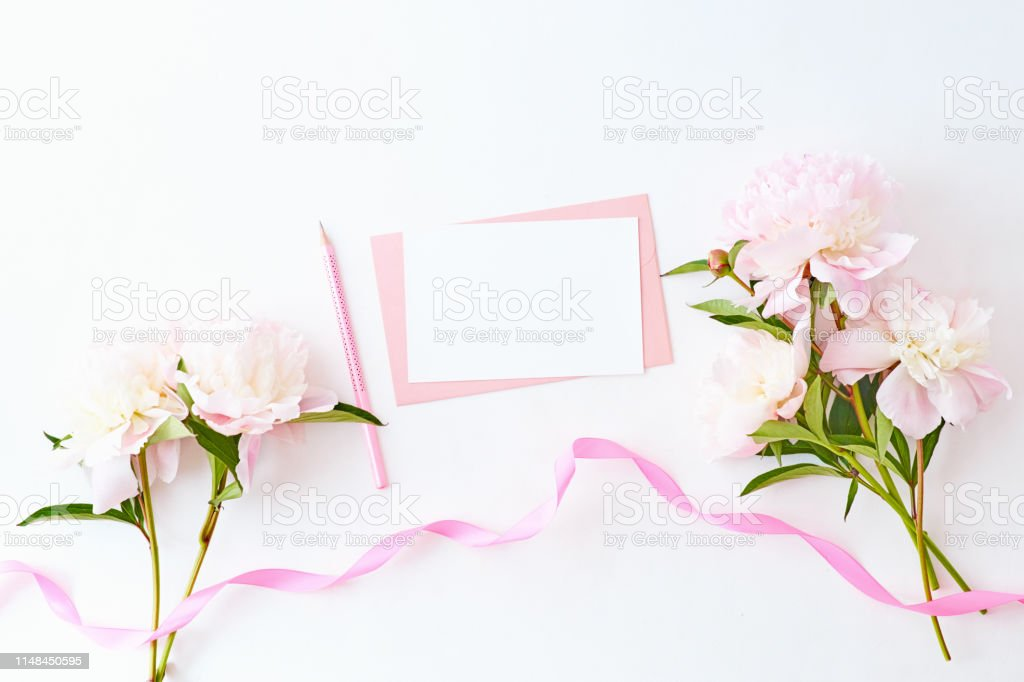 Mockup Wedding Invitation And Envelope With Light Pink