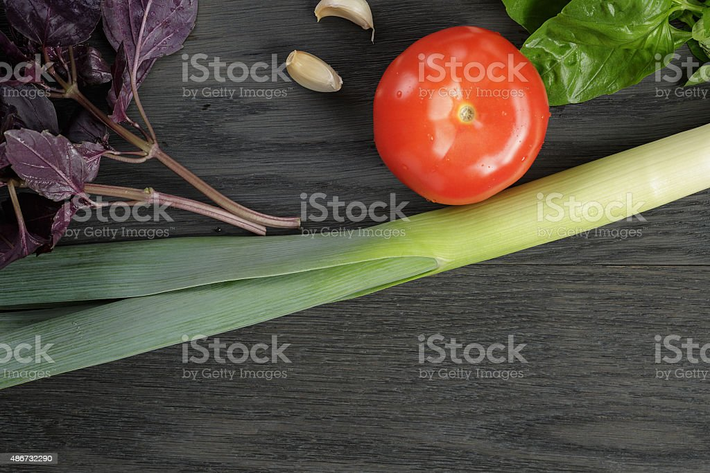 mockup with organic herbs and tomato stock photo