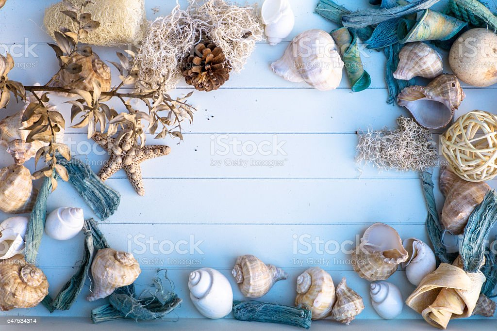 mockup with seashells stock photo