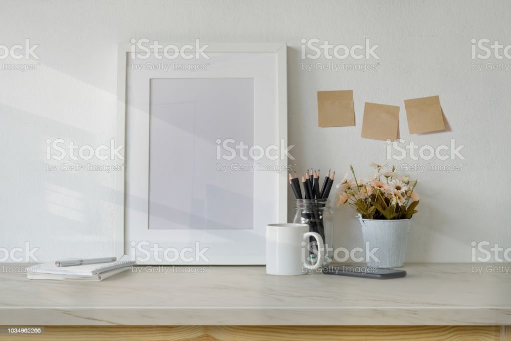 Mockup Workspace Table With White Poster Frame Coffee Mug Notebook ...