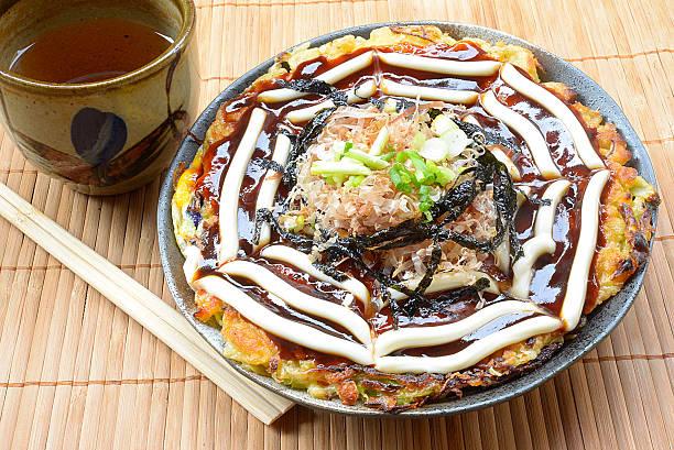 Modanyaki Okonomiyaki Japanses Pizza stock photo