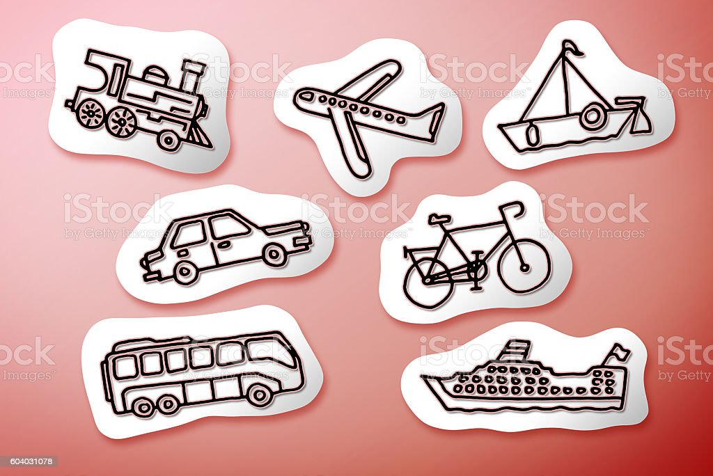 Mode of transport concept image on white cartoons stock photo