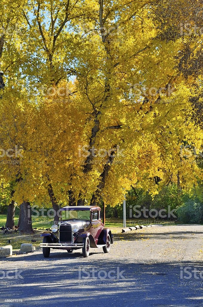 Model A Ford In Fall stock photo
