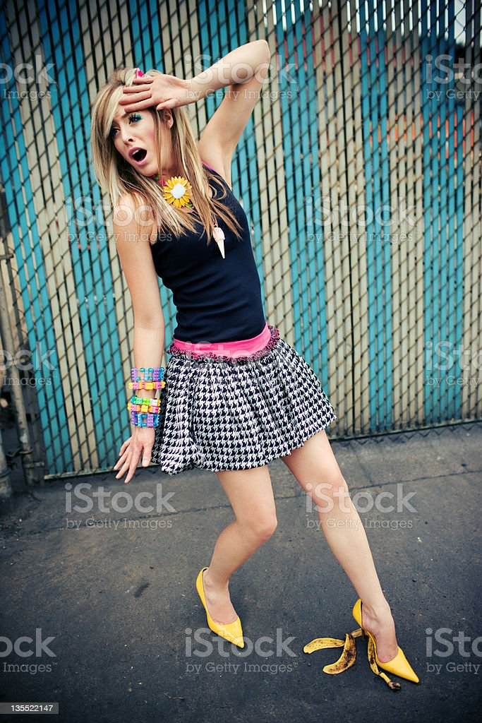 Model About to Slip on a Banana Peel royalty-free stock photo