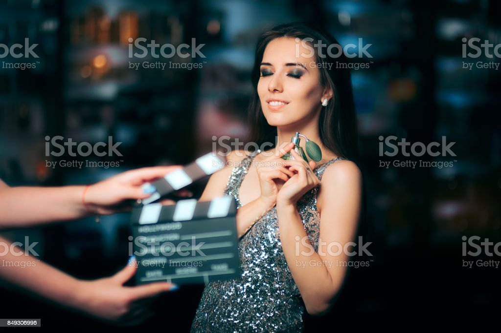 Model Acting in Perfume Commercial Ready to Film New Scene stock photo